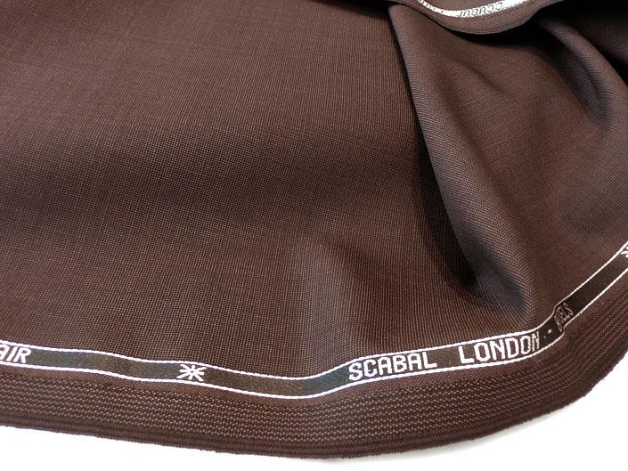 ブラウンのピンヘッド柄 スーパー100's モヘア混(10%)ウエイトは260〜270g